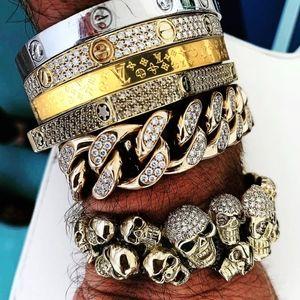 1Gold LV monogram Bangle Bracelet Rare Uni